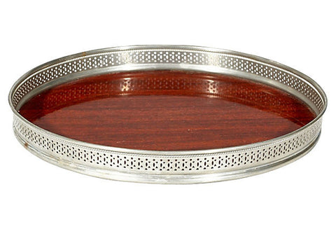 1960s Round Wood Style Serving Tray