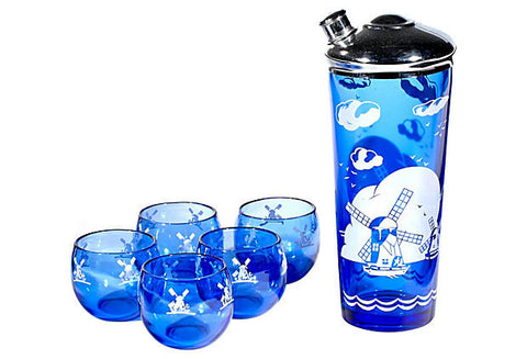 Art Deco Cobalt Cocktail Set, 6-Pcs