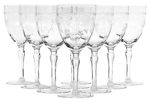 1950s Laurel & Bow Etched Wine Stems, Set of 9