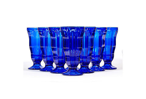 Cobalt Glass Parfait Stems, Set of 8