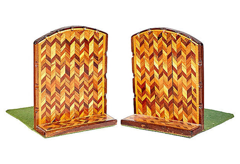 Vintage Chevron Inlaid Bookends, Pair