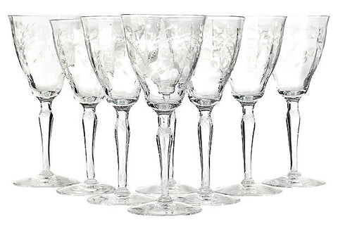 Art Deco Floral Etched Glass Stems, Set of 8