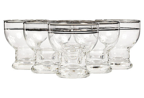 double silver banded glass liquor tumblers