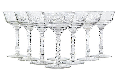 Art Deco Floral Cut Glass Coupes, Set of 8