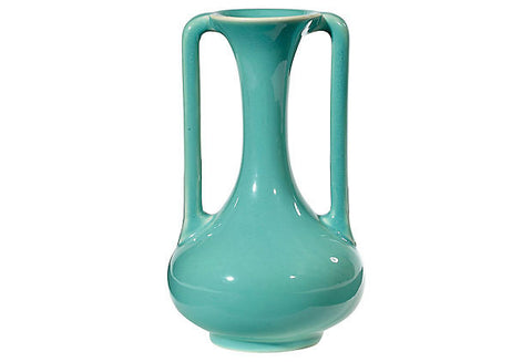 Art Deco Green Handled Ceramic Vase