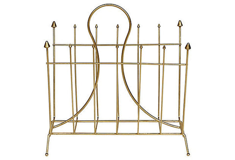 1960s Gilt Atomic Style Magazine Holder