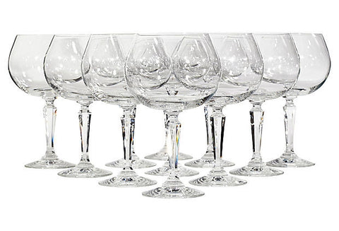 handblown clear glass goblets by Lenox