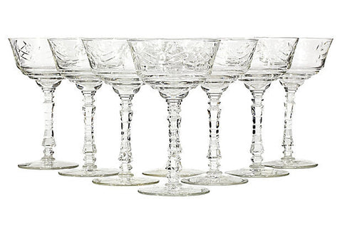 vintage wheel cut floral glass coupes