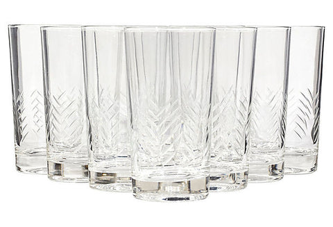 vintage line cut tall glass tumblers