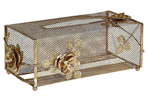 mid century modern gilt metal tissue holder