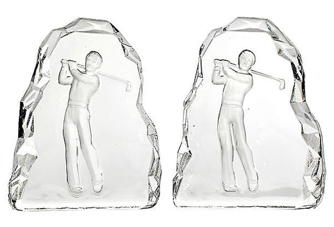 Glass Golfing Bookends, Pair