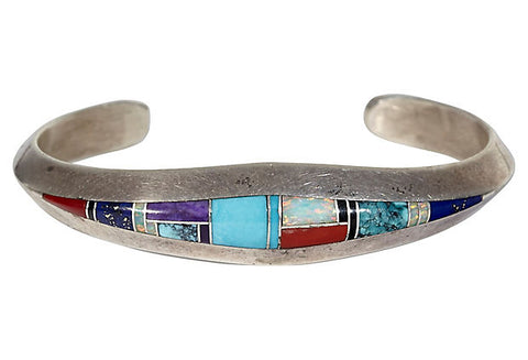 Mid Century Sterling Silver & Turquoise Cuff
