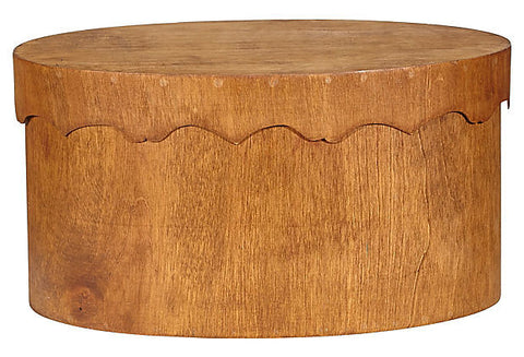 vintage teak covered oval box