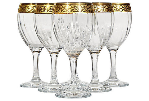 floral gilt rim tall glass wine stems by Murano Glass