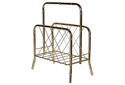 Bamboo Style Gilt Metal Magazine Rack