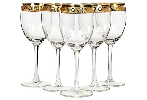 Vintage Gilt Rimmed Wine Stems