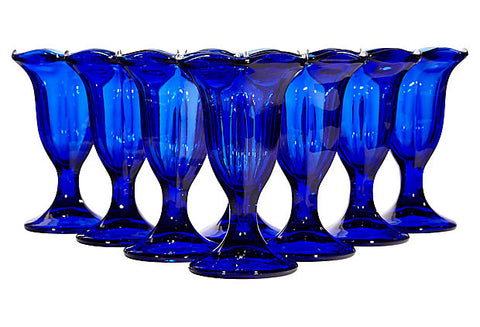 Ruffled Edge Tall Cobalt Glass Stems