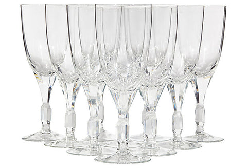 1960s Crystal Glass Wine Stems, Set of 10