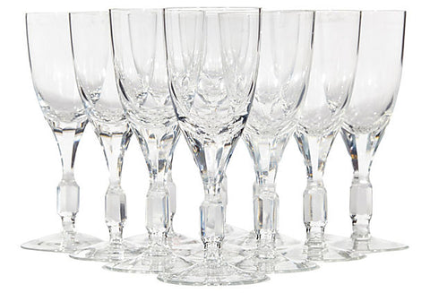1960s Crystal Glass Wine Stems, Set of 11