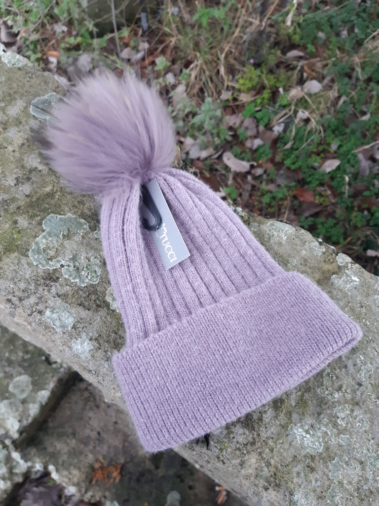 Hat Mia Angora Ribbed Fur PomPom Hat - HT01 - Vera Tucci OriginalsAccessories