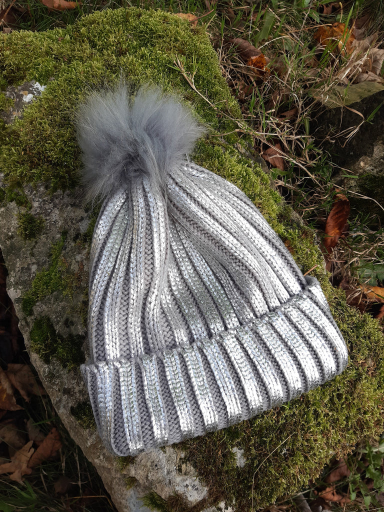 Hat Tina Metallic Knitted Hat - HT04 - Vera Tucci OriginalsAccessories Silver