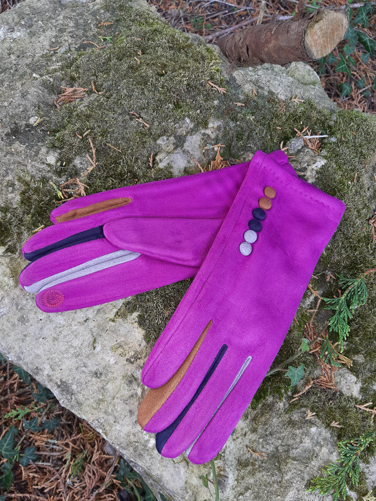 Gloves Margot Faux Suede Touch Screen Glove - G05 - Vera Tucci OriginalsAccessories FUCHSIA / SMALL