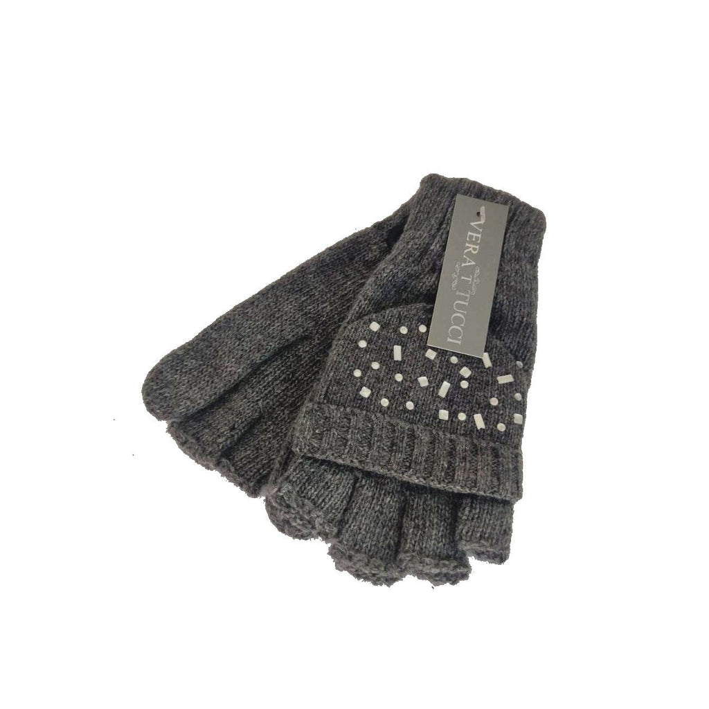 Gloves LENA - G20 MITTS with cover flaps - Vera Tucci OriginalsAccessories DARK GREY