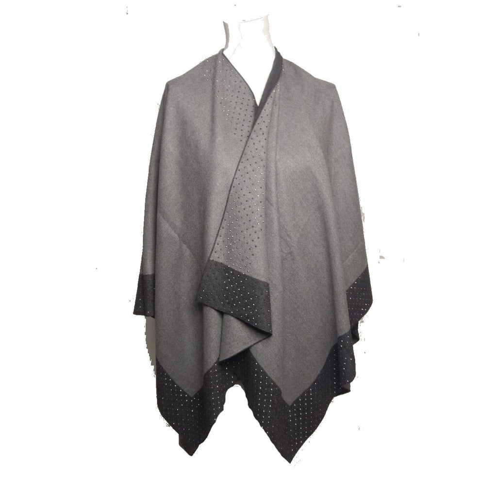 Poncho KELLY - Studed Poncho - Vera Tucci OriginalsAccessories LIGHT GREY / DARK GREY