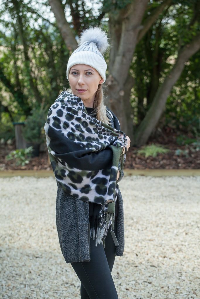 Scarves Moira Abstract Leopard Print Scarf - Vera Tucci OriginalsAccessories OLIVE SOLD OUT