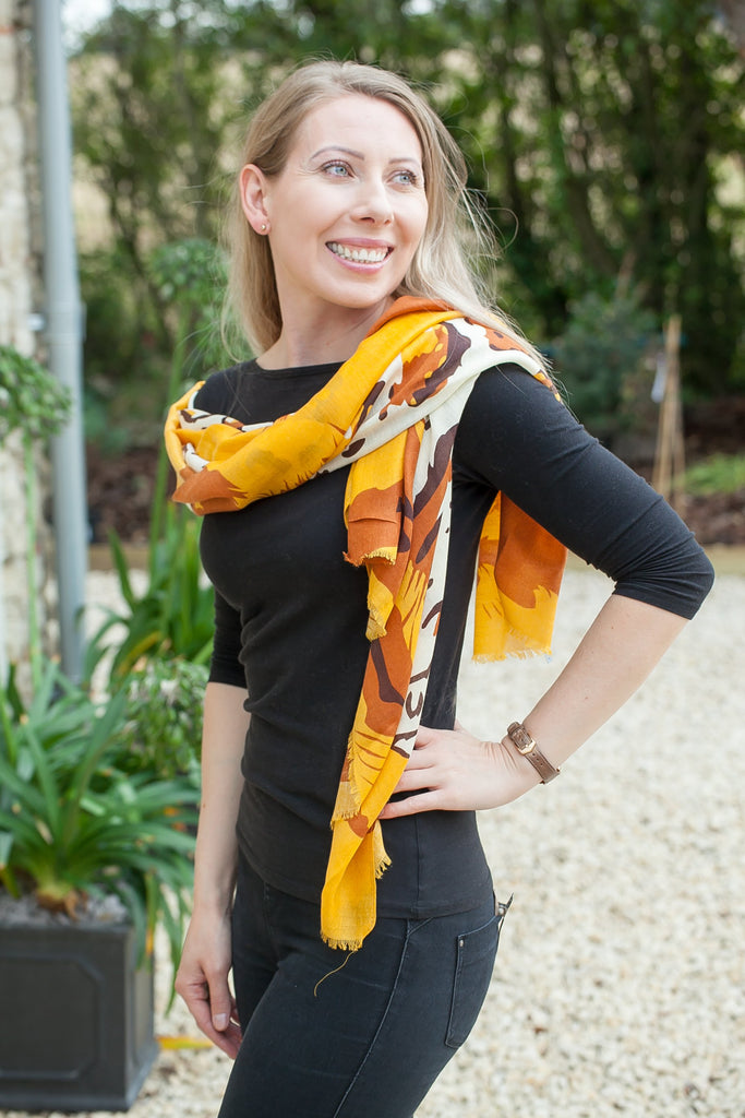 Scarves Nala Coloured Leopard Scarf - SC5022 - Vera Tucci OriginalsAccessories MUSTARD
