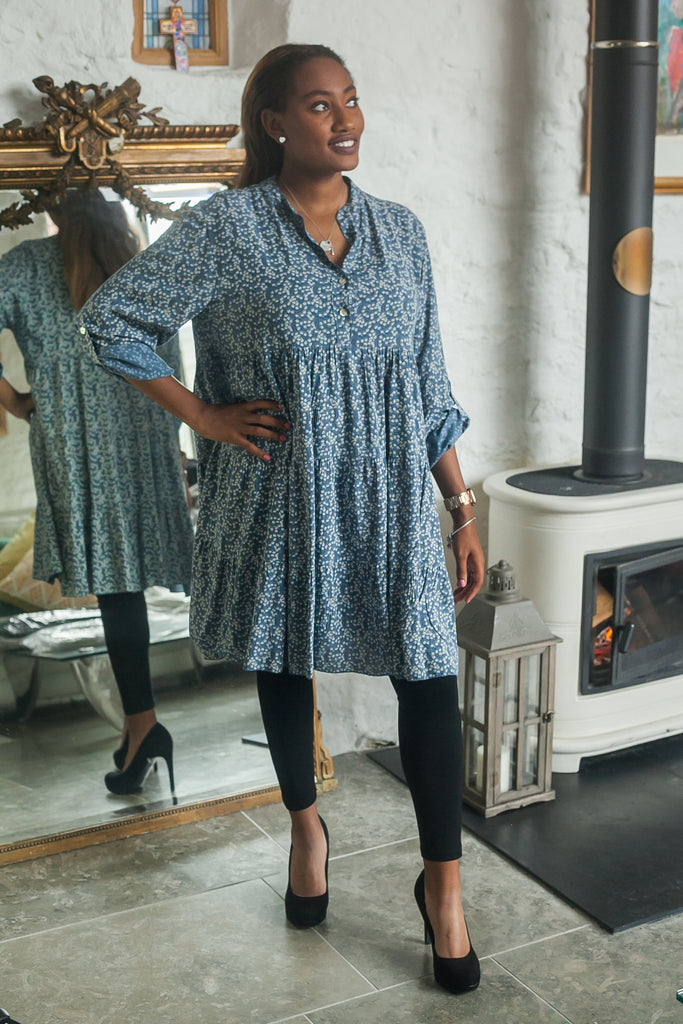 Tunic FLORA PATTERNED MONO TIERED TUNIC PRP-6076 - Vera Tucci OriginalsLondon Clothing DENIM