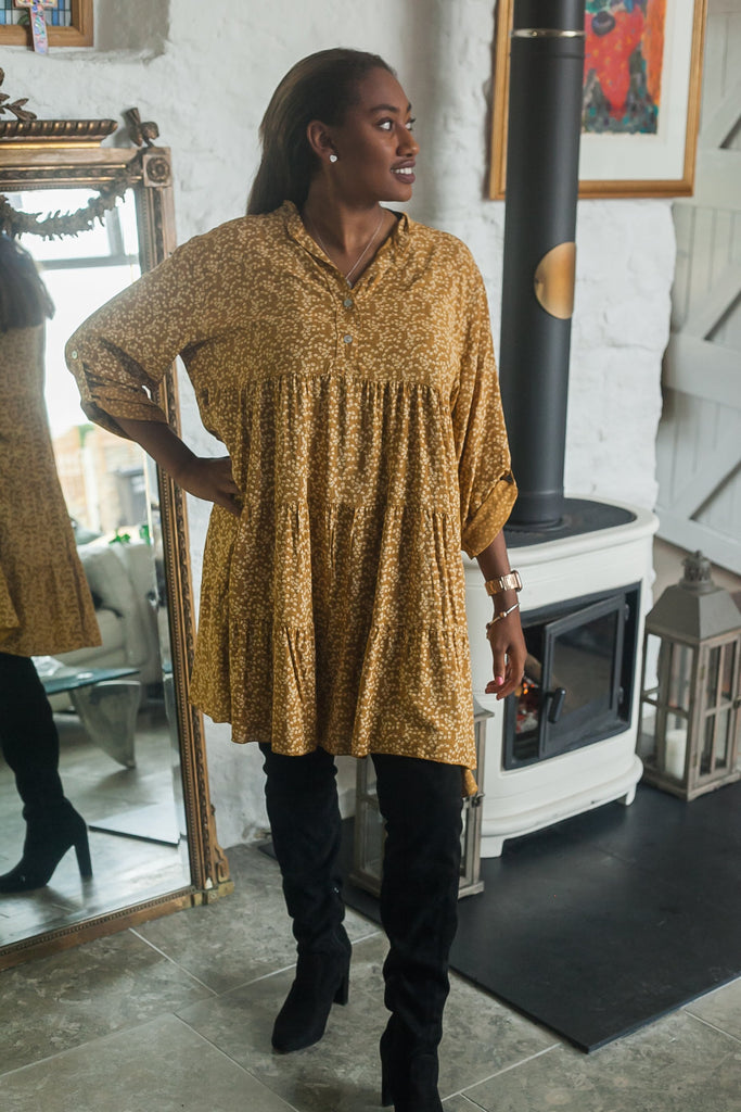 Tunic FLORA PATTERNED MONO TIERED TUNIC PRP-6076 - Vera Tucci OriginalsLondon Clothing MUSTARD