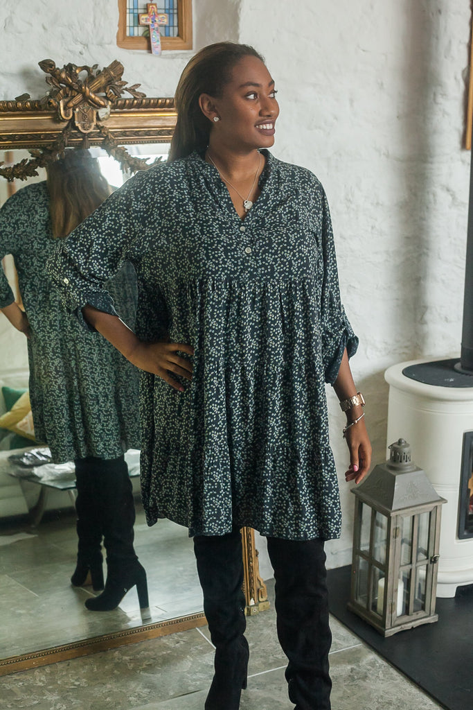 Tunic FLORA PATTERNED MONO TIERED TUNIC PRP-6076 - Vera Tucci OriginalsLondon Clothing DARK GREY
