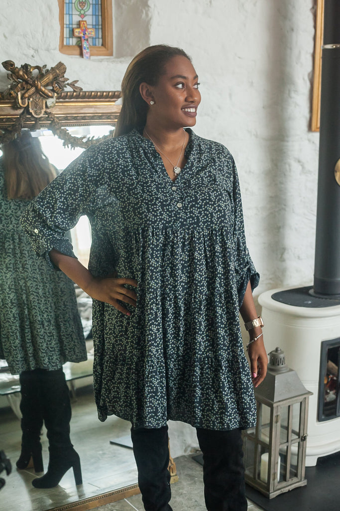 Tunic FLORA PATTERNED MONO TIERED TUNIC PRP-6076 - Vera Tucci OriginalsLondon Clothing