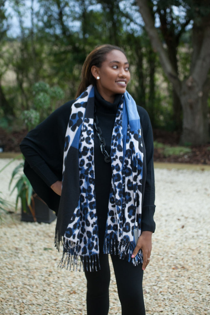 Scarves Moira Abstract Leopard Print Scarf - Vera Tucci OriginalsAccessories DENIMNAVY