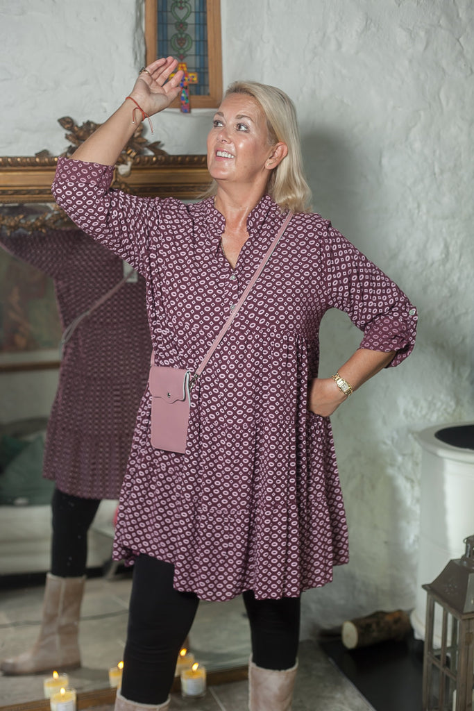 Tunic GEO SHAPES PATTERN MONO TIERED TUNIC - Vera Tucci OriginalsLondon Clothing BRICK RED