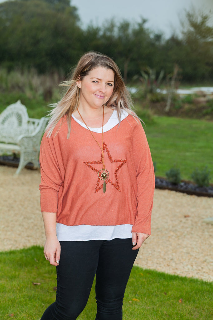 MARIELA - Double Layer Viscose Star Top With Pendant Top One Size