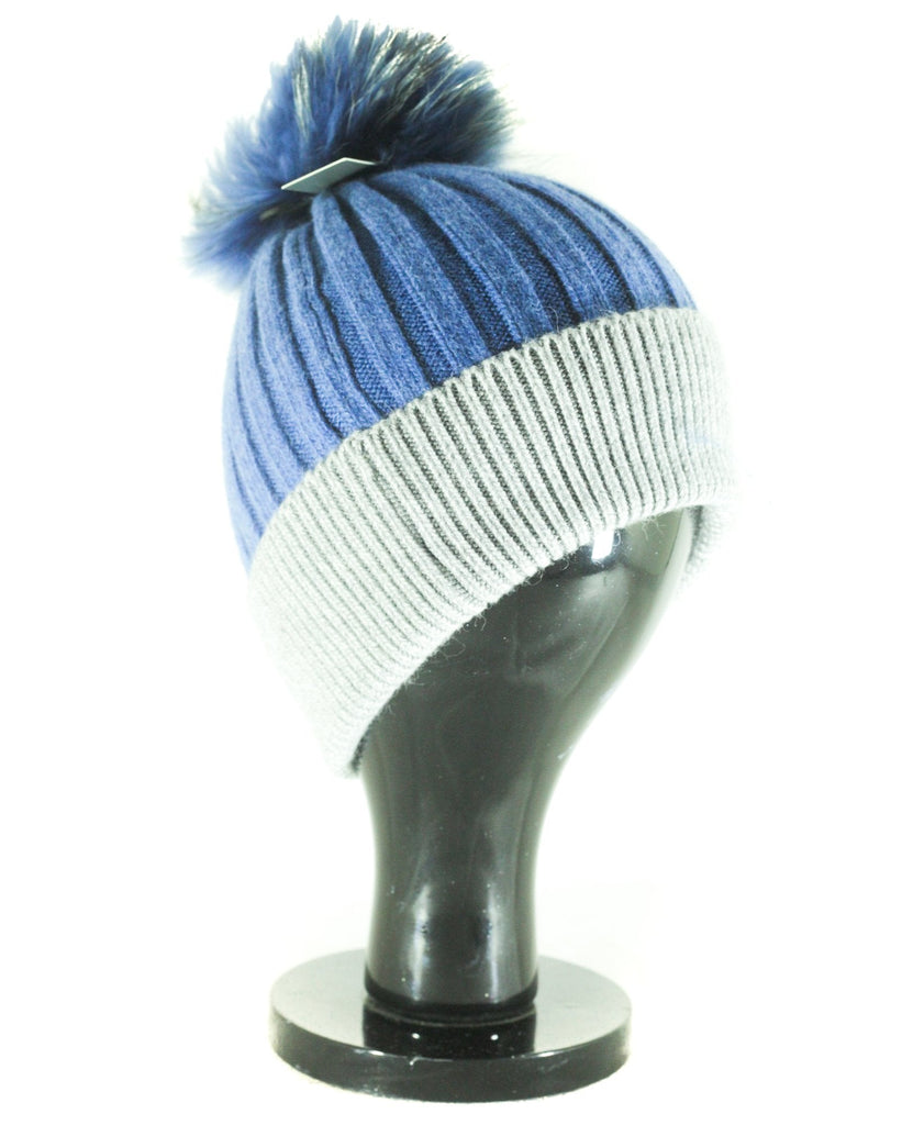 Hat Leah Two Tone Ribbed Hat with Fur PomPom - HT10 - Vera Tucci OriginalsAccessories Denim/l gry ?id=16836078403721