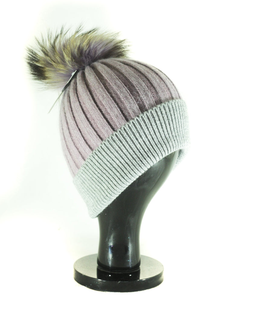 Hat Leah Two Tone Ribbed Hat with Fur PomPom - HT10 - Vera Tucci OriginalsAccessories Lilac /gry SOLD OUT ?id=16836078370953
