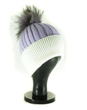 Hat Leah Two Tone Ribbed Hat with Fur PomPom - HT10 - Vera Tucci OriginalsAccessories ?id=16836078174345