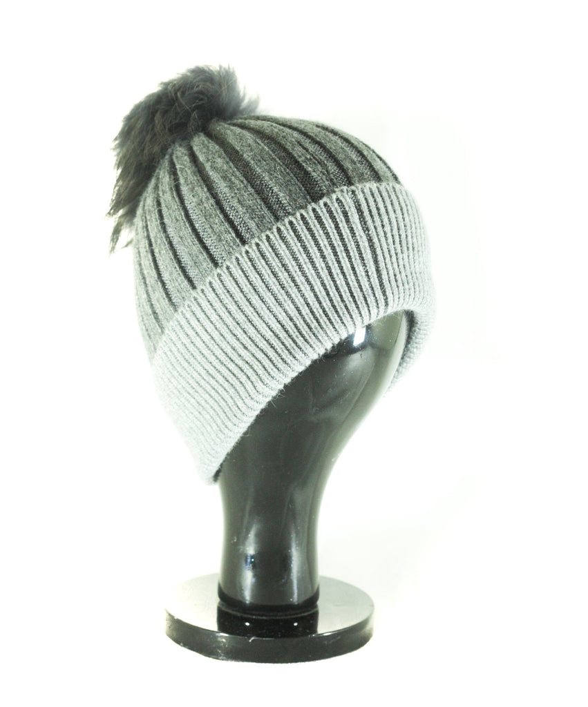 Hat Leah Two Tone Ribbed Hat with Fur PomPom - HT10 - Vera Tucci OriginalsAccessories Dark Grey/Light Grey ?id=16836078207113