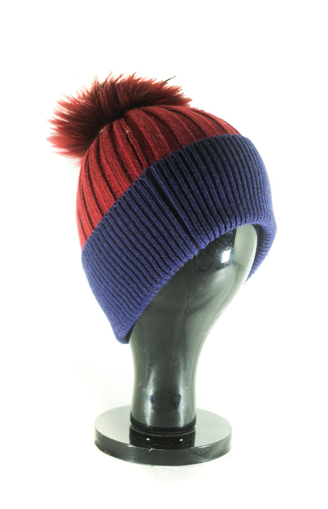Hat Leah Two Tone Ribbed Hat with Fur PomPom - HT10 - Vera Tucci OriginalsAccessories Burgundy/Navy ?id=16836078141577
