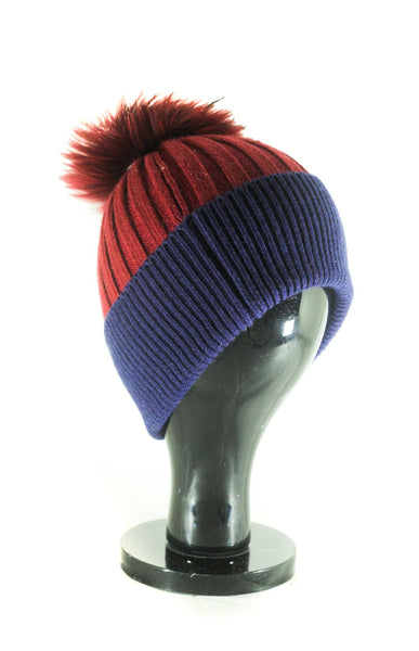 HT10 Two Tone Ribbed Turn Up hat With Self Pom PomANGORA HL17-C215 (With Real and Fake Fur Pom)