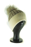 Hat Leah Two Tone Ribbed Hat with Fur PomPom - HT10 - Vera Tucci OriginalsAccessories Taupe/Crm ?id=16836078239881