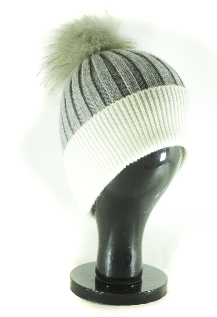 Hat Leah Two Tone Ribbed Hat with Fur PomPom - HT10 - Vera Tucci OriginalsAccessories Light grey/white SOLD OUT ?id=16836078305417