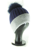 Hat Leah Two Tone Ribbed Hat with Fur PomPom - HT10 - Vera Tucci OriginalsAccessories Navy/Grey SOLD OUT ?id=16836078338185