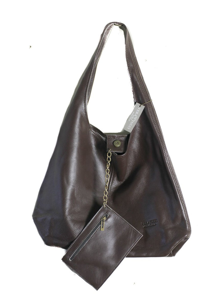 Leather Bag Juliet Milled Leather Shoulder Bag - Vera Tucci OriginalsBags Chocolate Brown