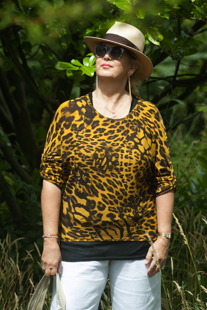 Top Leopard Double Layer Top One Size - Vera Tucci OriginalsLondon Clothing