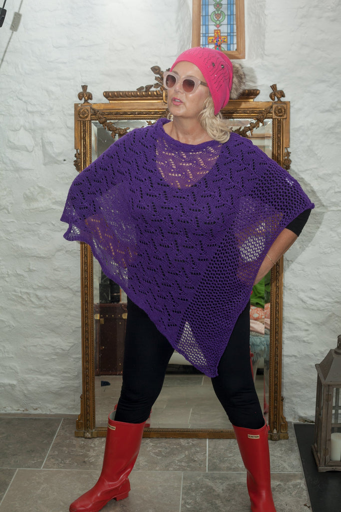 Poncho CROCHET STYLE KNITTED PONCHO - Vera Tucci OriginalsAccessories PURPLE