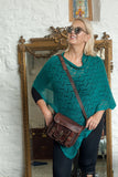 Poncho CROCHET STYLE KNITTED PONCHO - Vera Tucci OriginalsAccessories ATLANTIC GREEN